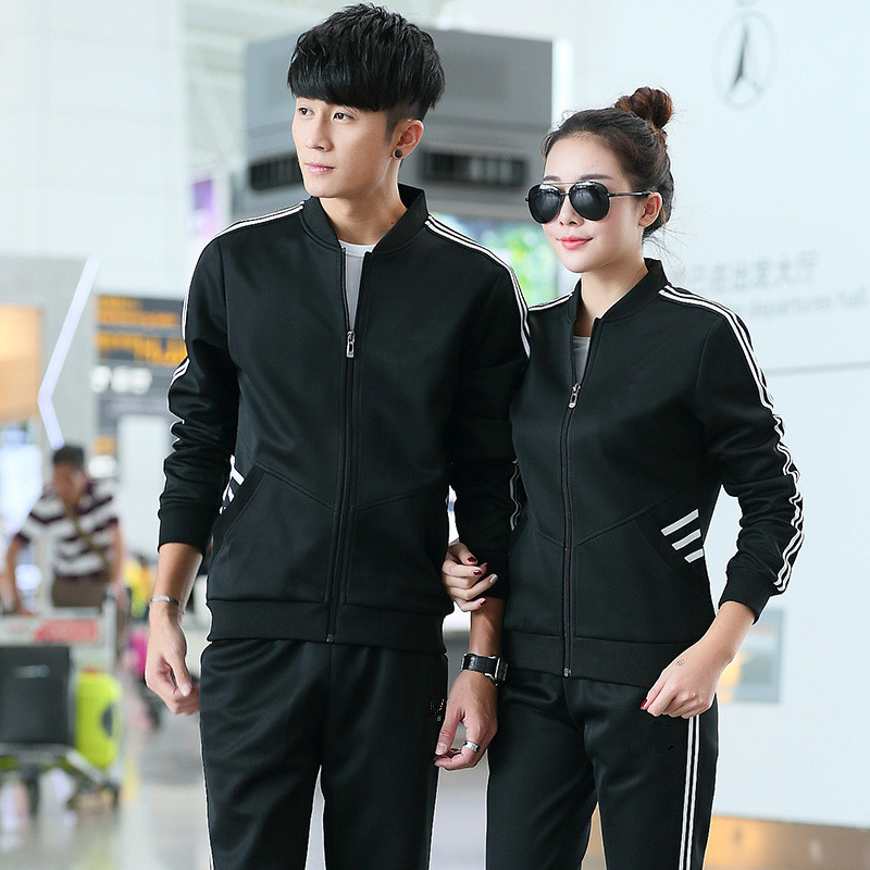 Customizable Printed Logo Groups Sports Set Men And Women COUPLE'S Long Sleeve Two-Piece Casual Fitness Suit