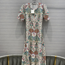 Retro Floral Print Women Dress Vintage Short Puff Sleeves High-end Casual