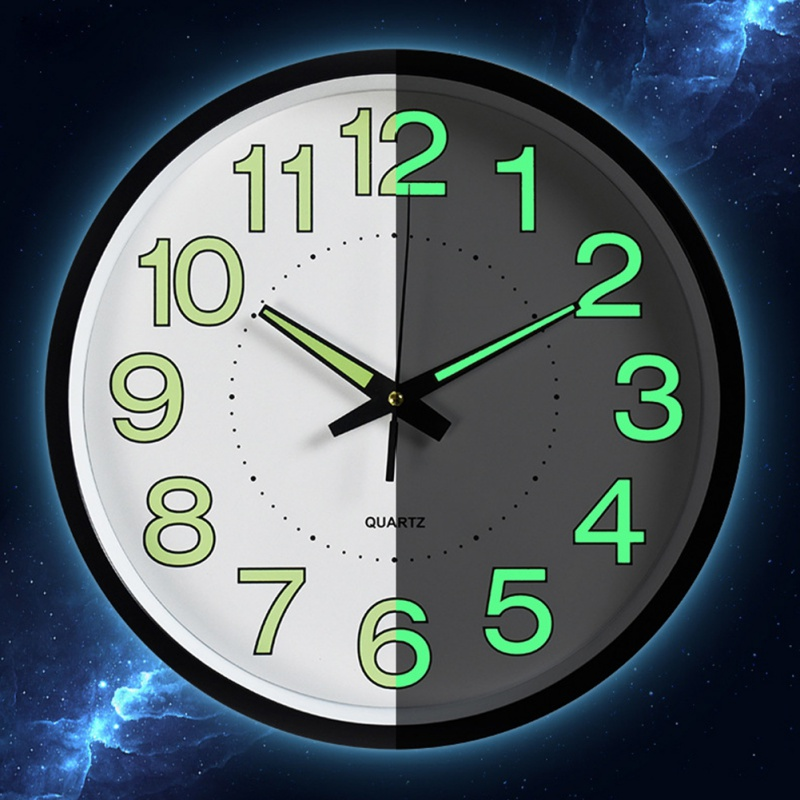 Luminous Wall Clock Quartz Plastic Wall Clock Modern Design For Bedroom Living Room Glowing In The Dark Home Decor 30CM