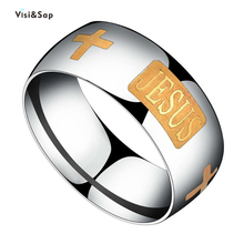 Visisap Titanium Steel Ring Yellow Gold Color Cross JESUS Rings for Man Size 6-13 Women Religious Jewelry Manufacturer R132 visisap titanium steel wide men ring size 7 14 dropshipping yellow black steel gold color rings for birthday gifts jewelry s r35