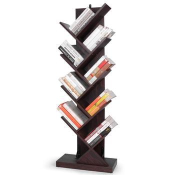 Tree Shape Bookshelf Floor Standing Bookcase Wooden Shelf for Living Room Office Eco-friendly bamboo bookshelf vertical bookcase