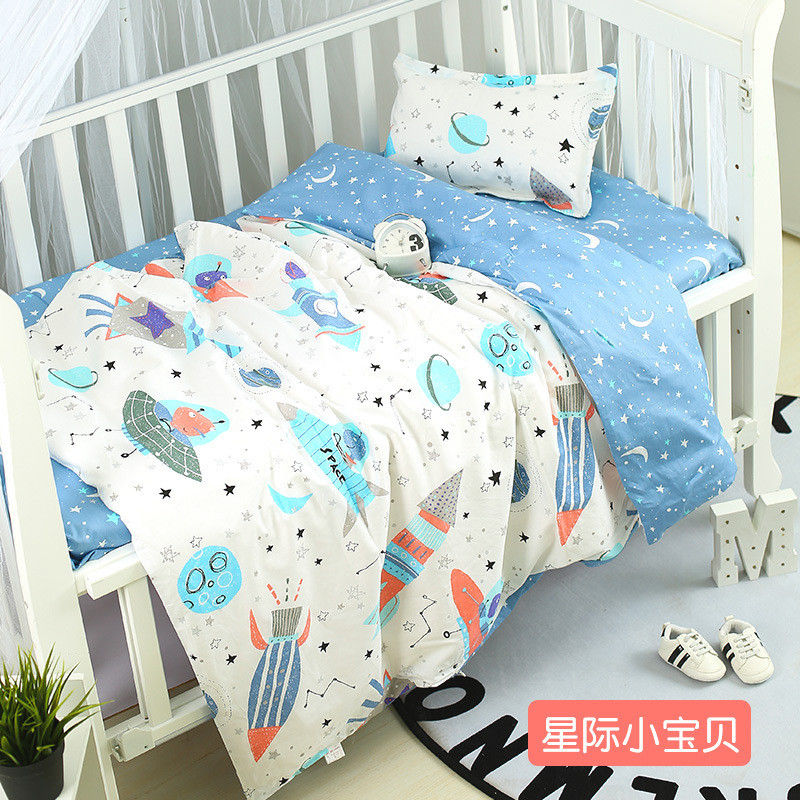 3pcs/set Universe Space Pattern Crib Bedding Set Cotton Baby Bed Linens Includes Pillowcase Bedsheet Quiltcover Without Filler