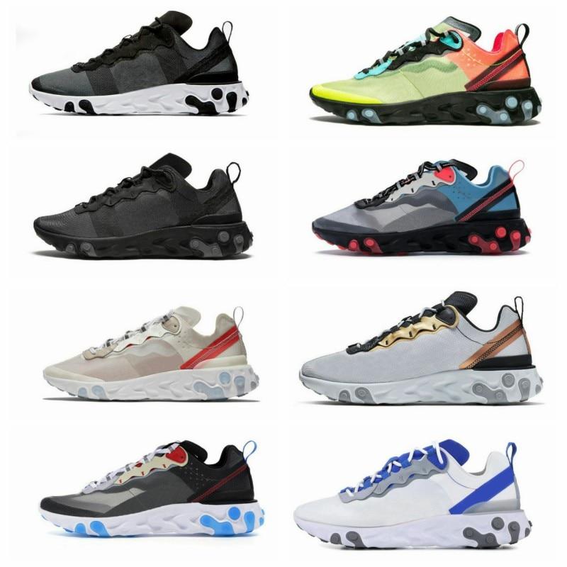 2020 New Hot Sale Reacting Element 87 55 Running Shoes For Men Women Light Triple Black White Blue Sports Sneakers 38-45