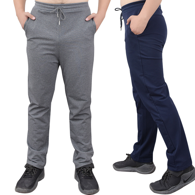 New Style Men Cotton Solid Color Trousers Plus-sized Casual Fashion & Sports Trousers Straight-Cut Running Trousers Sub-