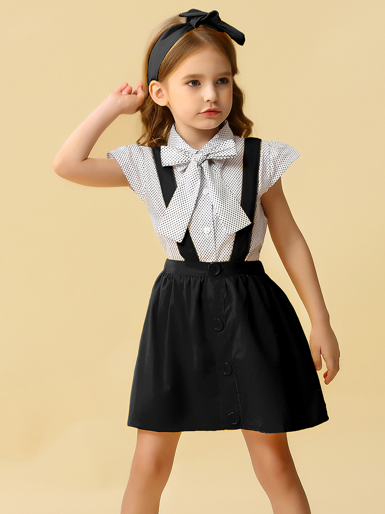 Clothes-Sets Headband Dresses Baby-Girls Kids Children's Summer Hello Enjoy Dot Strap