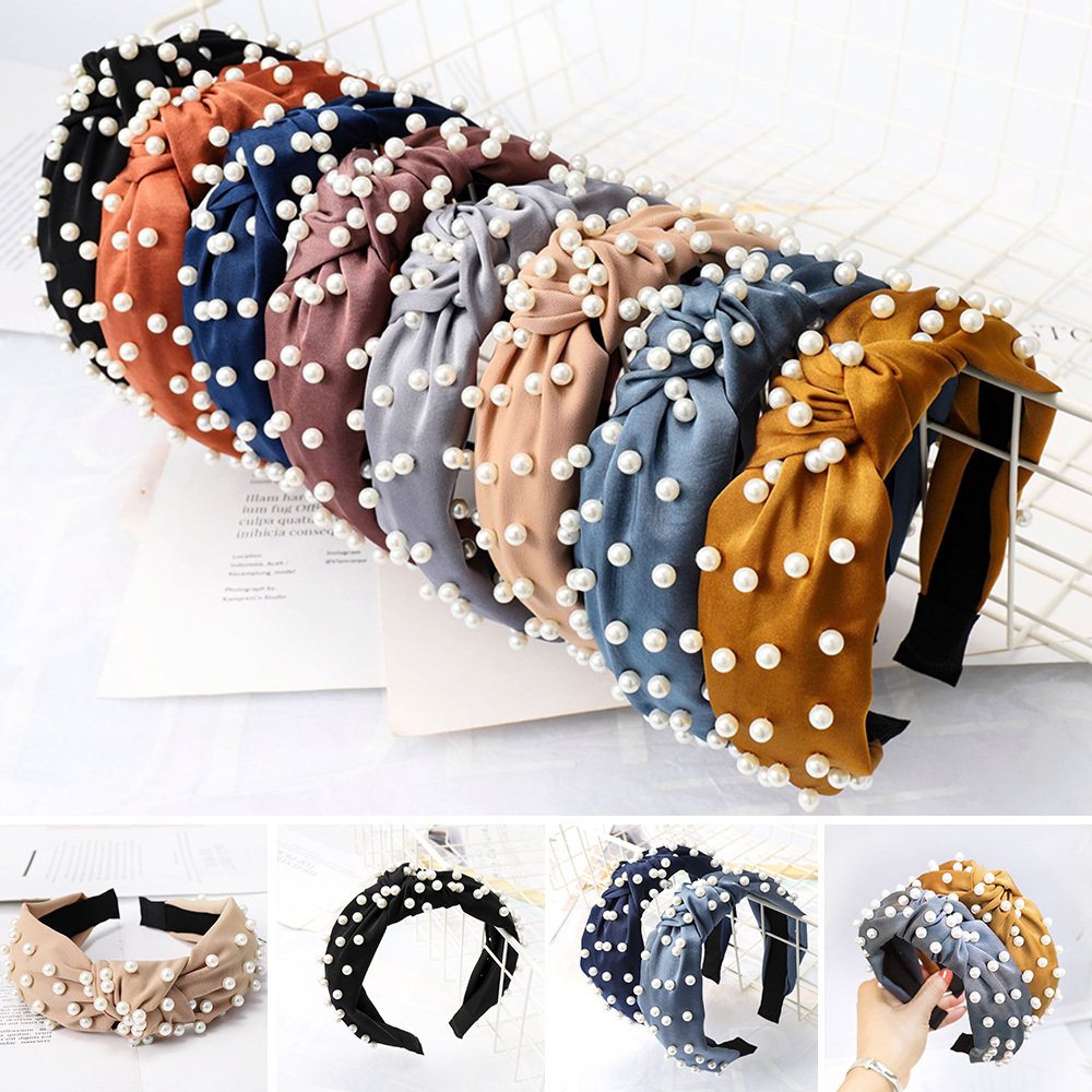 2020 Top Knot Turban Headband Elastic Hairband Pearl Hair Accessories Girls No Slip Stay Knotted Head Band Hair Band Women