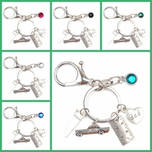 New 9 Color Crystal Creative Hacksaw Car Ruler Souvenir Keychain Holiday Gift Fathers Day Key Chain