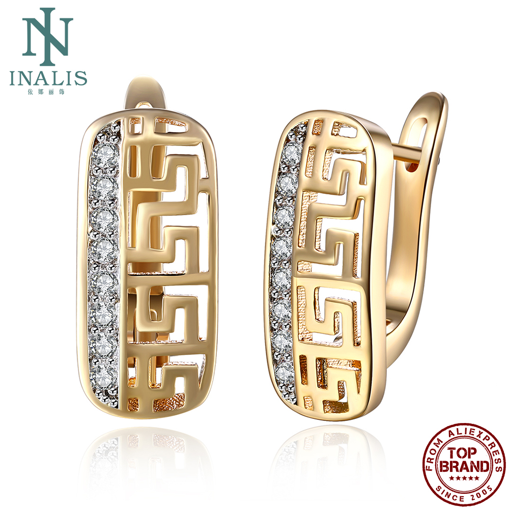 INALIS Earrings For Women Cubic Zirconia Geometric Copper Stud Earring Champagne Gold Female Fashion Jewelry Luxury Party Gift
