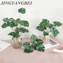 Bouquet de feuilles de tortue au toucher réel, plantes artificielles, décoration de fête de mariage à la maison, jardin balcon, fausses fleurs vertes