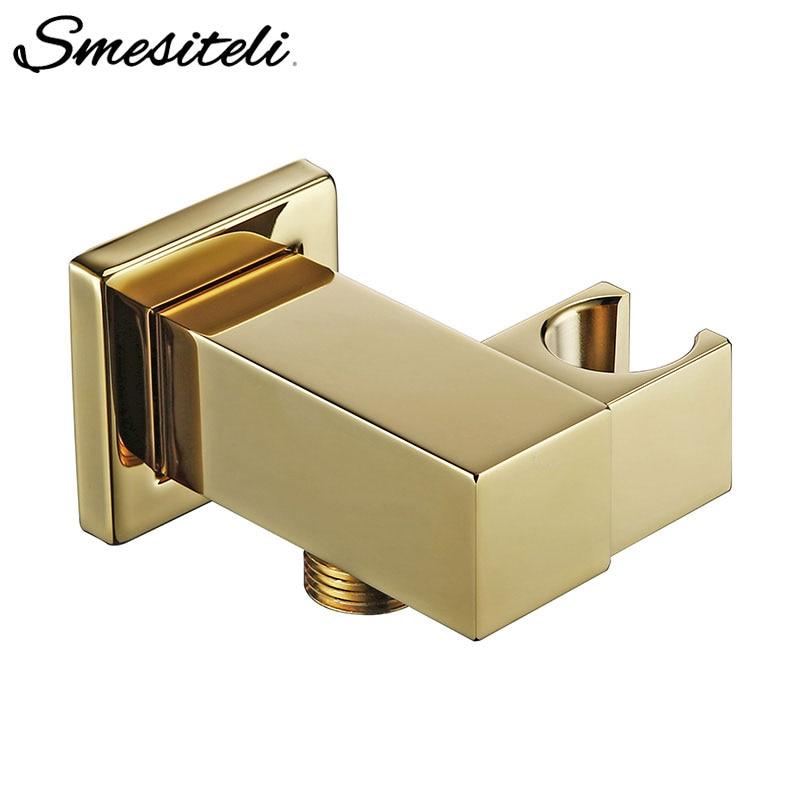 Smesiteli Handheld Shower Head Bracket Gold Small Portable Wall-Mounted Polished Brass For Bathroom Hardware