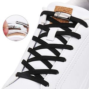 Elastic Shoelaces Sneakers Magnetic Metal-Locking Fashion 1-Pair No-Tie Convenience Quick-Flat