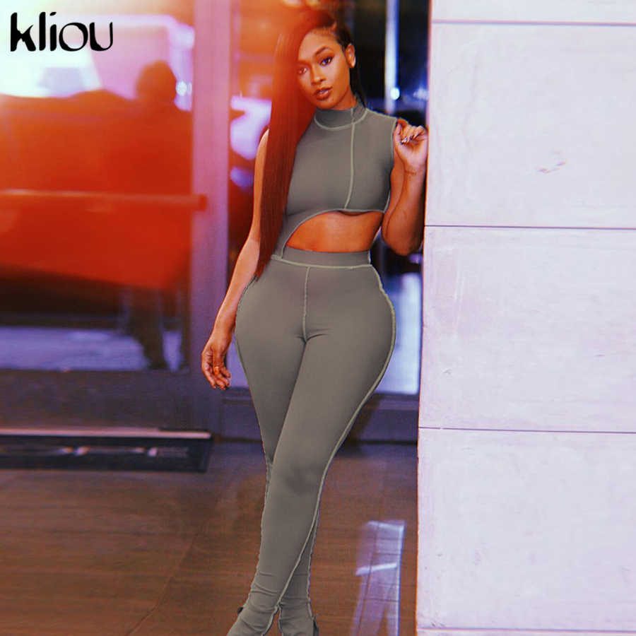 Kliou 탄성 hight 휘트니스 tracksuit 두 조각 세트 여성 비대칭 복장 터틀넥 패션 자르기 탑 + 바지 streetwear 의류