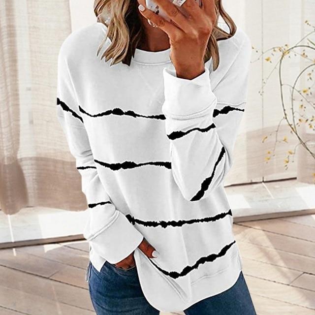 Striped Print Long Sleeve Black Hoodies Women 2020 Big Size 5XL Casual Tee Black Autumn Top O-Neck Loose Sport Ladies Hoodies 1