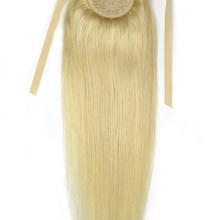 Human-Hair-Extensions Ponytail Remy ZZHAIR Natural Ribbon Straight 100g 16--28-machine-Made
