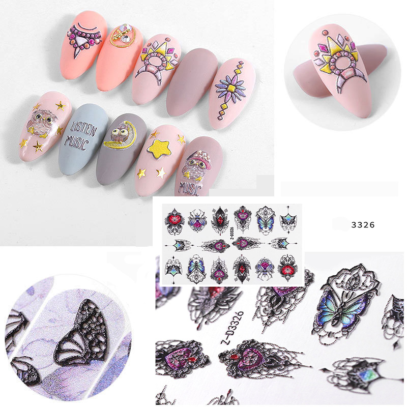 2020 DIY Acrylic Engraved Flower Nail Sticker Embossed Leave Cartoon Animals Water Decals Empaistic Nail Water Slide Decal Z0286