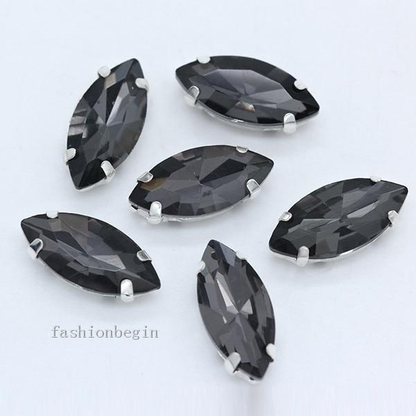 Всех размеров Наветт 24-цветное стекло камень с плоской задней частью, пришить с украшением в виде кристаллов Стразы драгоценные камни бисер с серебряной нитью, бледно-коготь кнопки для одежды аксессуары - Цвет: black diamond