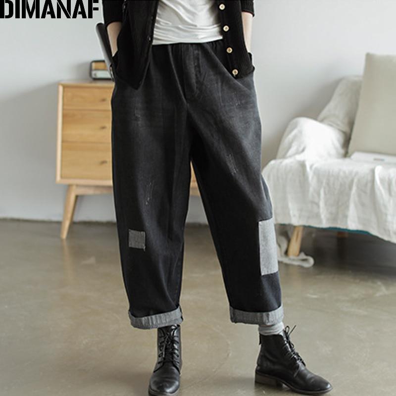 DIMANAF Plus Size Women Jeans Pants Vintage Denim Patchwork Loose Big Size Trousers Pantalones Female Pants 2019 Autumn Winter