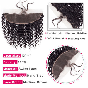 Image 3 - בלינג שיער ברזילאי עמוק גל סגירת 13*4 חזיתי תחרה עם תינוק שיער משלוח חלק 100% רמי שיער טבעי סגירה טבעי צבע