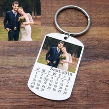 Keychain Engraved Keyrings Jewelry Custom-Calendar Anniversary Gift Heart-Date Stainless