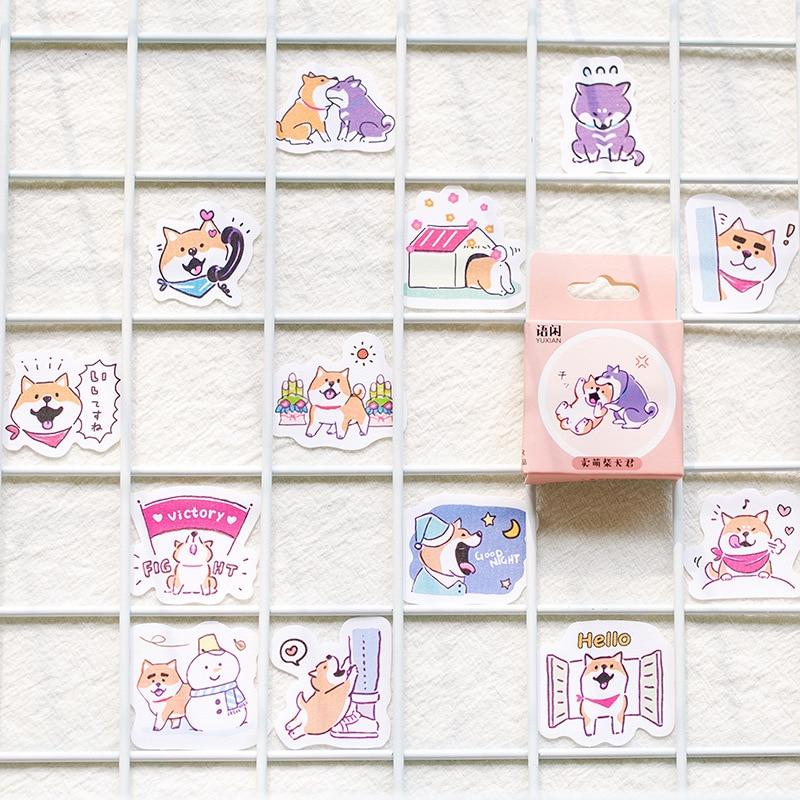 50 Sheets Cute Box Sticker Cartoon Notebook Stickers DIY Decor Bullet Journal Supplies School Korean Stationery