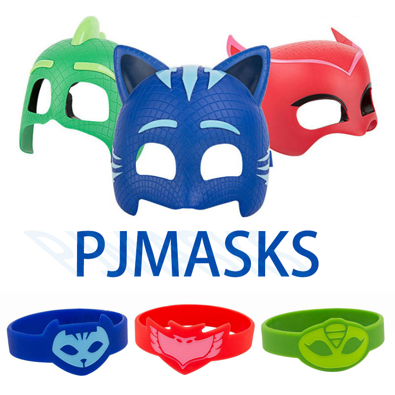 Pj Mask Juguete Silicone Sports Bracelet PJ Masks Costume Halloween Mask Toy PVC Catboy Owlette Gekko Toys For Children Gift S68
