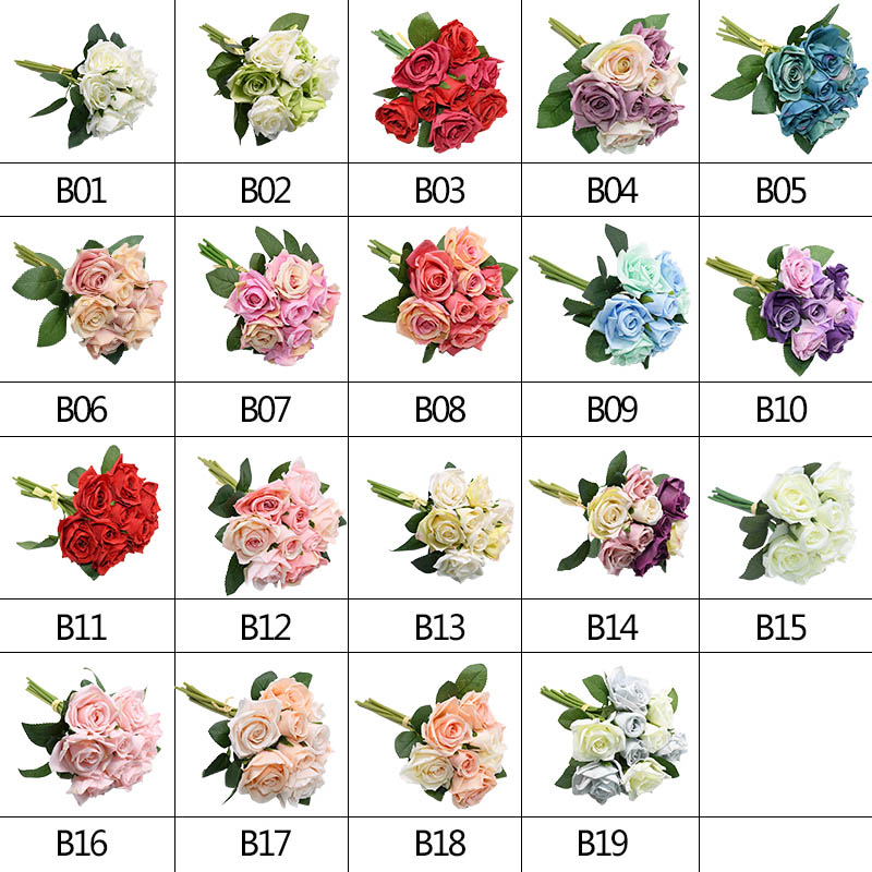 1 Bunch Pretty Artificial Silk Rose Flowers Bride Bouquets for Party Home Decoration Wreath Wedding Flowers Bouquet Supplies in Artificial Dried Flowers from Home Garden