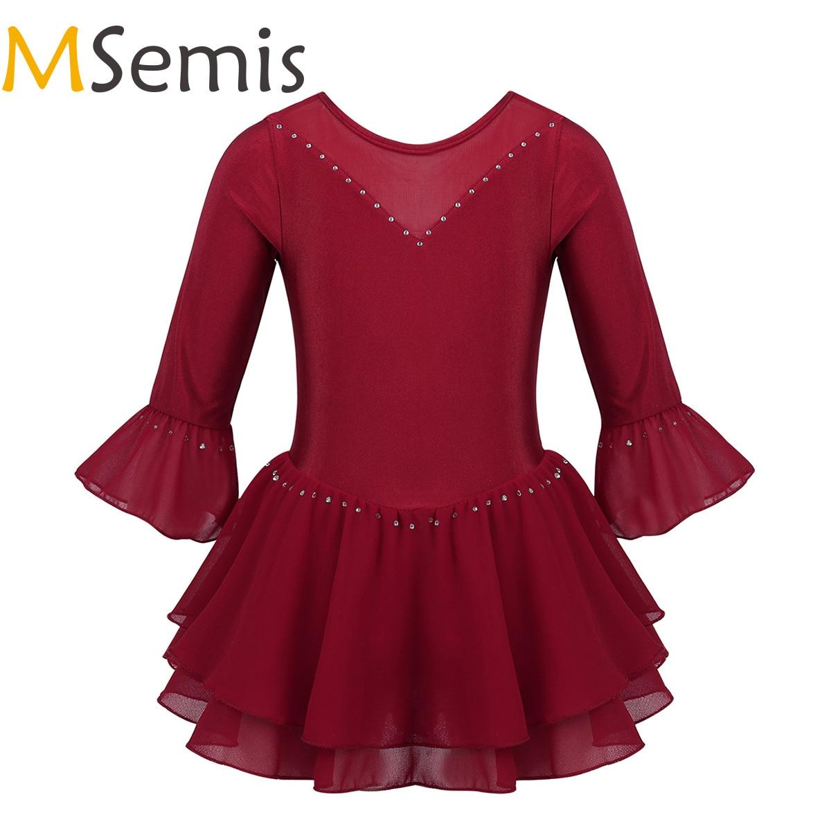 MSemis Kids Girls Figure Skating Dress Ice Skating Ballroom Competition Dresses Flare Sleeves Rhinestone Gymnastics Dancewear