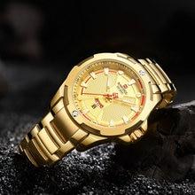 NAVIFORCE Fashion Casual Mens Watches Top Brand Luxury Waterproof Quartz Clock Golden Stainless Steel Strap Business Wrist Watch цена 2017