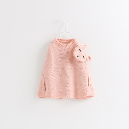 Sweet Kids Girls Knitted Bunny Capes Poncho Batwing Sleeve Crochet Pink Color Sweater Capes Jackets