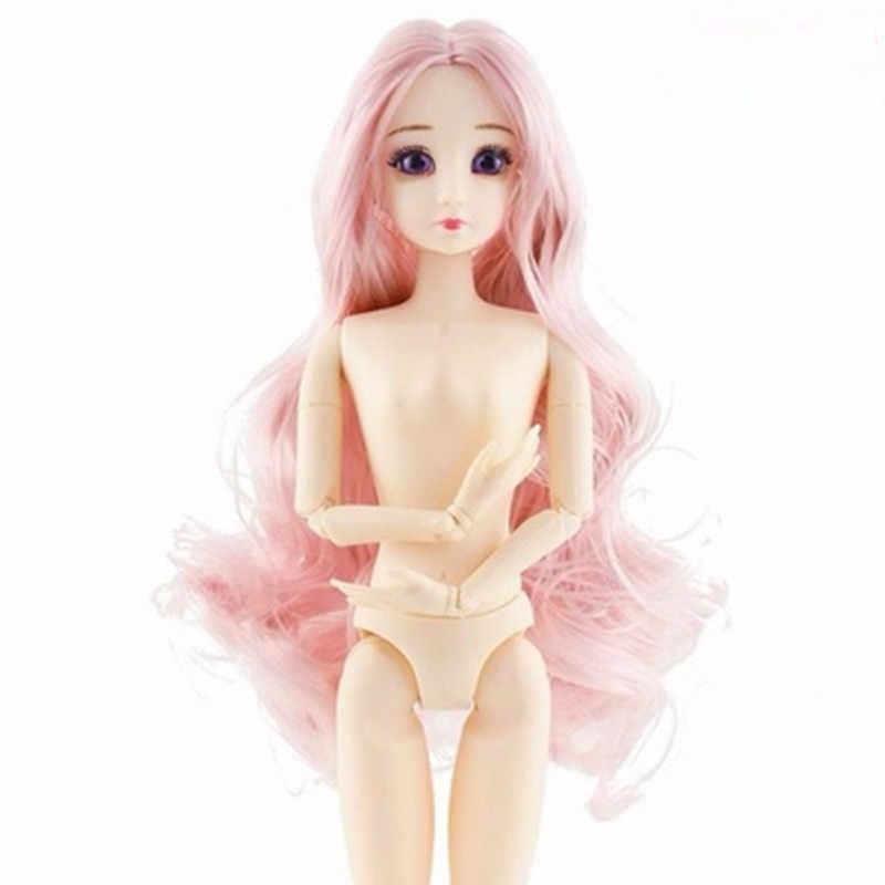 Dropshipping moda BJD bebek uzun peruk saç 3D gözler 20 küresel mafsal Bjd plastik bebekler 30Cm bebek kız oyuncakları kadın çıplak vücut