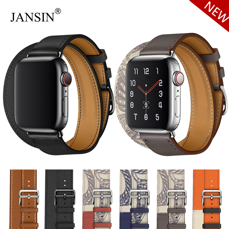 Leather Loop Double Tour Strap For Apple Watch Series 5 4 40mm 44mm Band Wristband Bracelet For IWatch 38mm 42mm Series 3 2 1