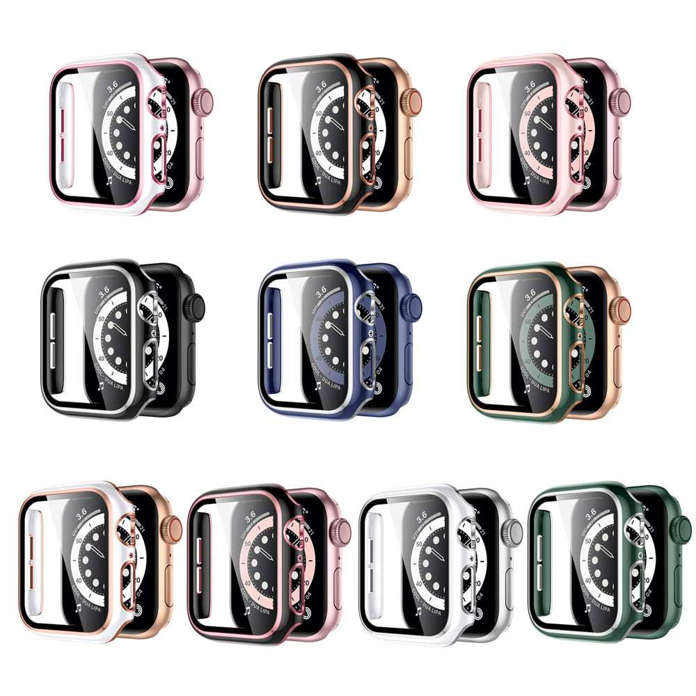 Screen Protector for Apple Watch SE 6 5 4 Case 44mm 40mm 42mm 38mm Case Bumper Glass Protective Cover for iwatch 3 2 Accessorie