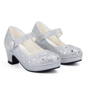 Image 2 - Children Princess Shoes for Girls Sandals High Heel Glitter Shiny Rhinestone Enfants Fille Female Party Dress Shoes