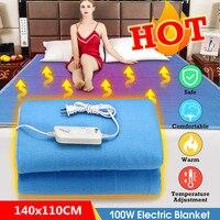 110 v/220 v 전기 난방 담요 더블 단일 따뜻한 히터 방수 온도 조절 겨울 플란넬 침대 온수 패드