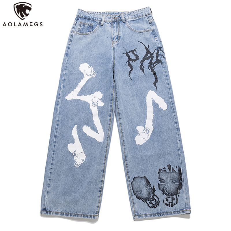 Aolamegs Jeans Men Cool Graffiti Print Denim Pants Solid Color Fashion Retro Baggy Hip Hop Style Jeans High Street Casual Pant