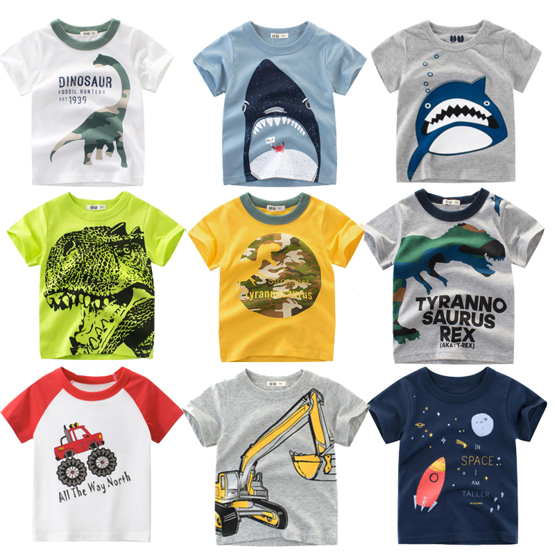 Shark Print Shorts Toddler Summer Outfit Set Kids Boys Girls Clothes Cotton Letter Printed Top