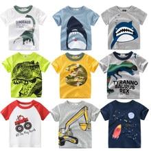Camiseta de dinossauro de tubarão infantil, camiseta de manga curta estampada para meninos e meninas 2 4 6 8 anos