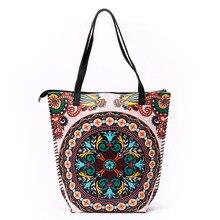 Large Capacity Women Shopping Totes Bag PU Leather Printed Bohemian Beach Bag Bolso Mujer Grande Vintage Ladies Big Handbag