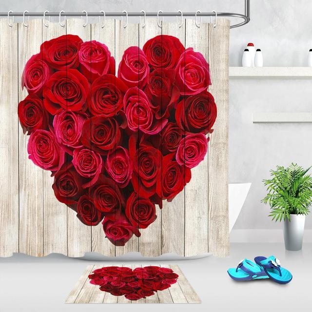 Rideau de bain de la saint-valentin   Rideau de douche en tissu Polyester imperméable, Roses rouges en forme de cœur, rideaux de salle de bains en bois