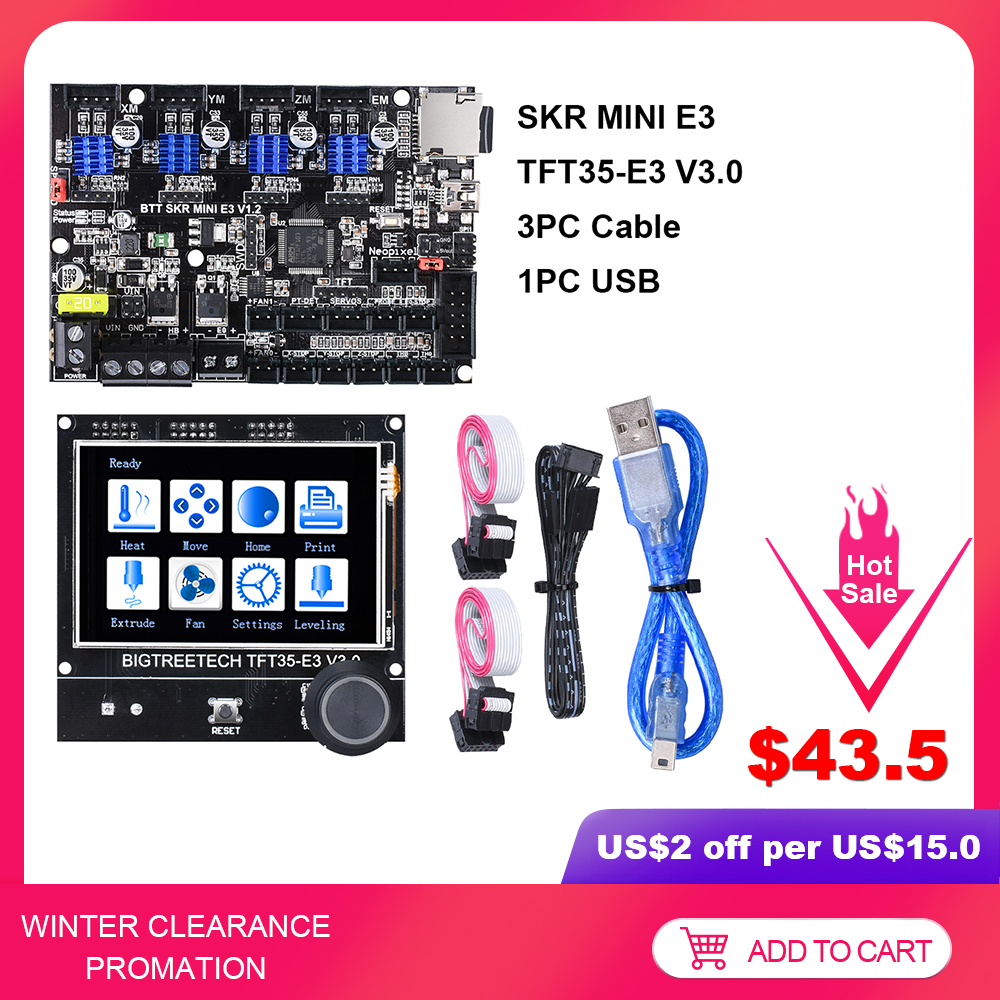 Bigtreetech skr 미니 e3 v1.2 32 비트 보드 + TFT35-E3 v3.0 터치 스크린 e3 딥 tmc2209 tmc2208 3d 프린터 부품 Ender-3 CR-10