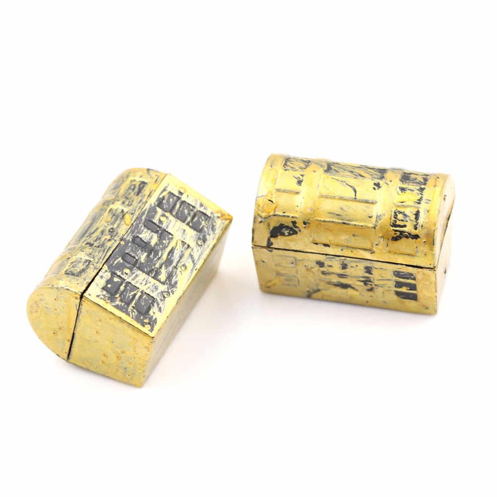 1 PC Rumah Boneka Miniatur Vintage Kotak Harta Karun Mini Bajak Laut Kotak Kotak Perhiasan Anak-anak Bermain Mainan Rumah Boneka Aksesoris