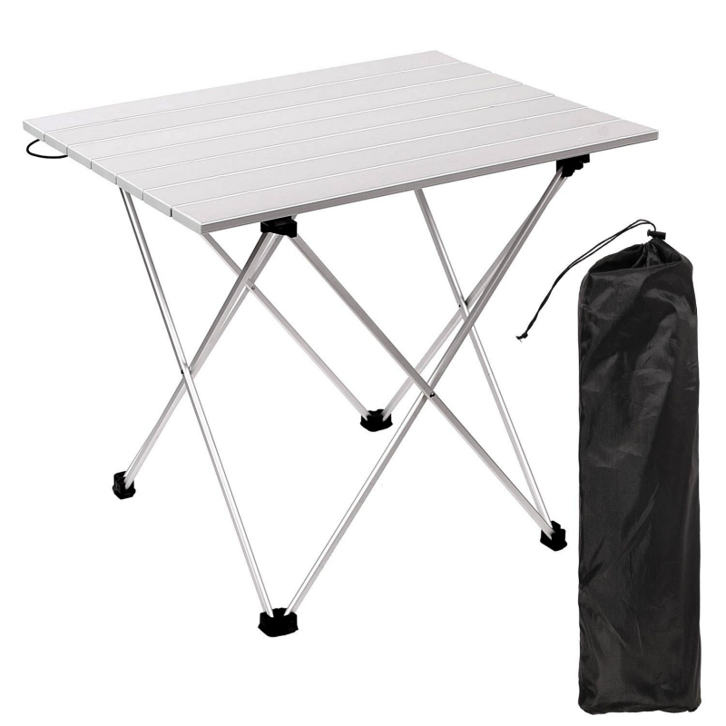 Foldable Table Portable Folding Desk Camping Hiking Desk Traveling Outdoor Picnic Table Silver Al Alloy Ultra-light