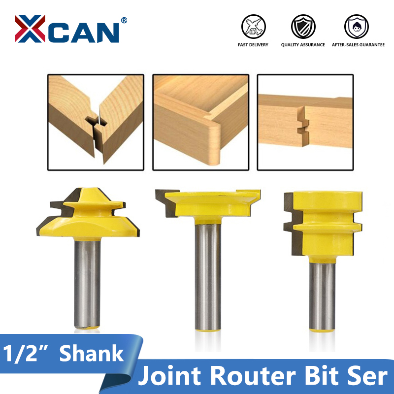 Drawer Front Glue Joint 3Pcs Jointing Router Bit Set 1//2 Handle Lock Miter