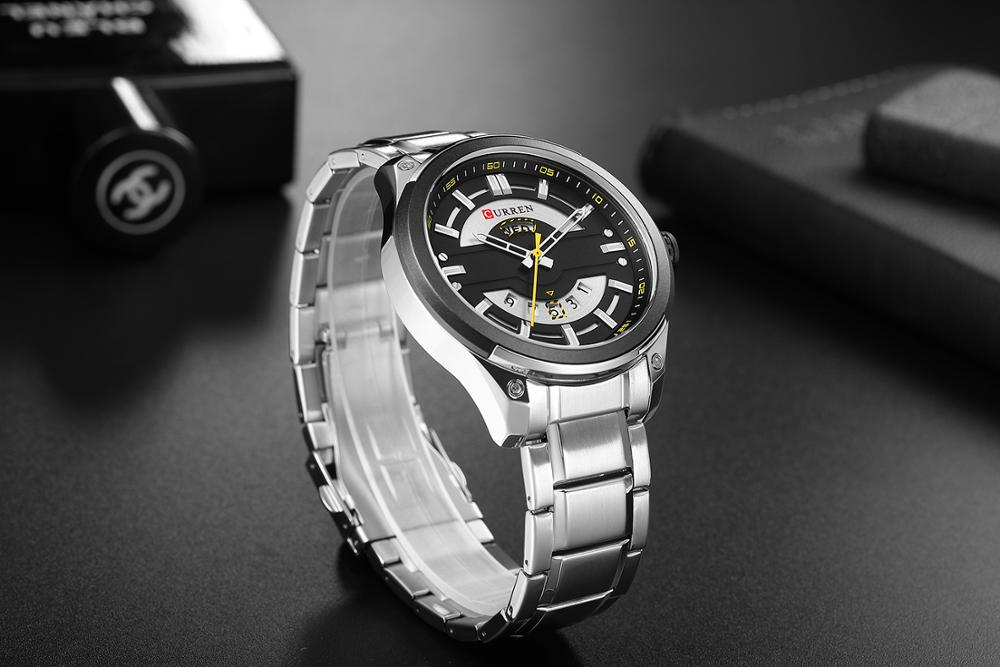 CURREN Silver Business Mens Quartz Wristwatch Waterproof Stainless Steel Brand Calendar Large Dial Clock Montre Homme in Quartz Watches from Watches