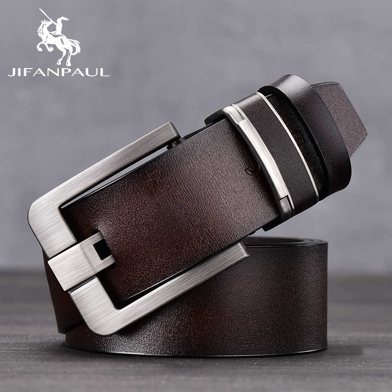 JIFANPAUL ブランドの本物の革のファッションベルト合金材料ピンレトロ男性のジーンズ野生高品質ベルト