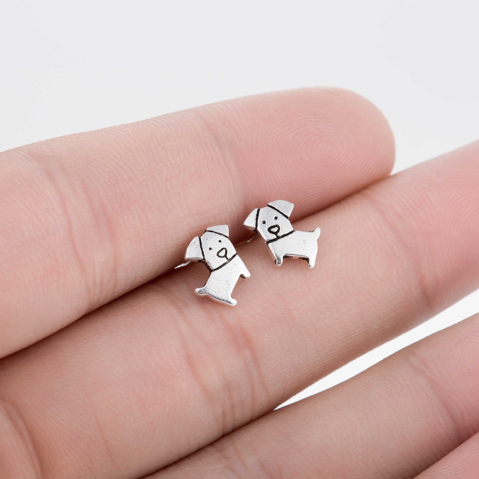 Hfarich Fashion Minimalistic Earing Cute Silver Color Dog Earrings for Women Femme Kolczyki Oorbellen Jewellery