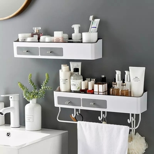Image 1 - Punch free Bathroom Organizer Rack Shampoo Cosmetic Storage Rack Bath kitchen Towel Holder Household Items Bathroom Accessories