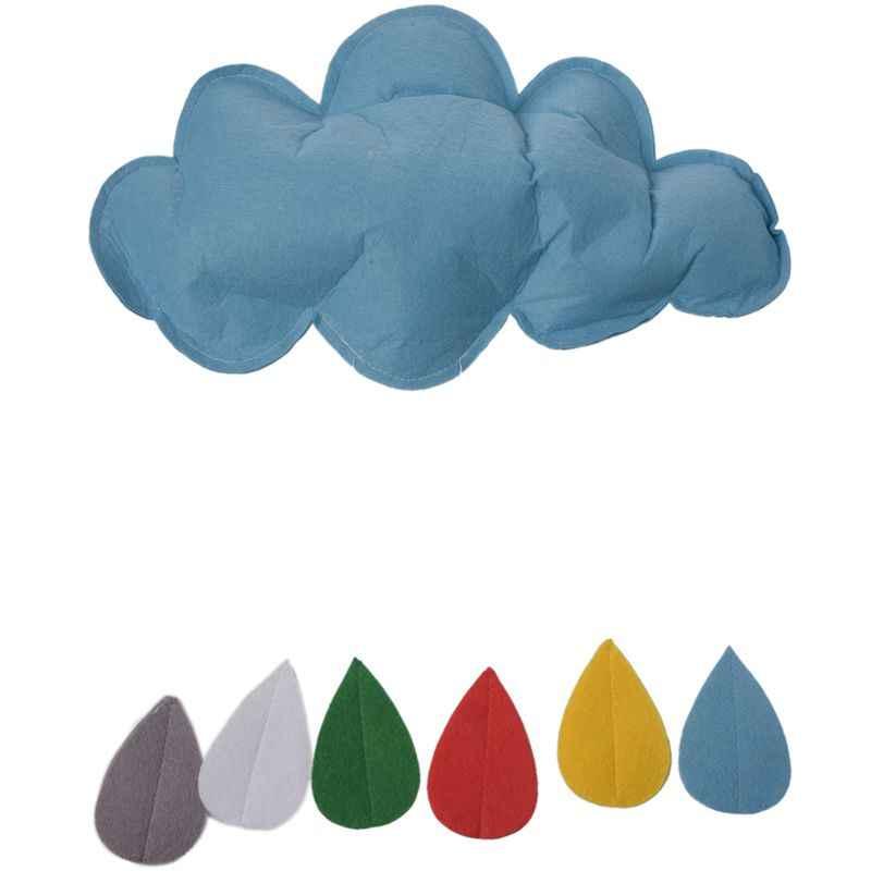 Los niños juegan tienda Decoración Accesorios juguete lluvia nubes gota de agua niño niña niños bebé habitación juguetes colgantes de cama azul