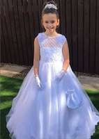 High Quality Customized High Quality Sleeveless Flower Girls Dresses Ball Gowns White Ivory