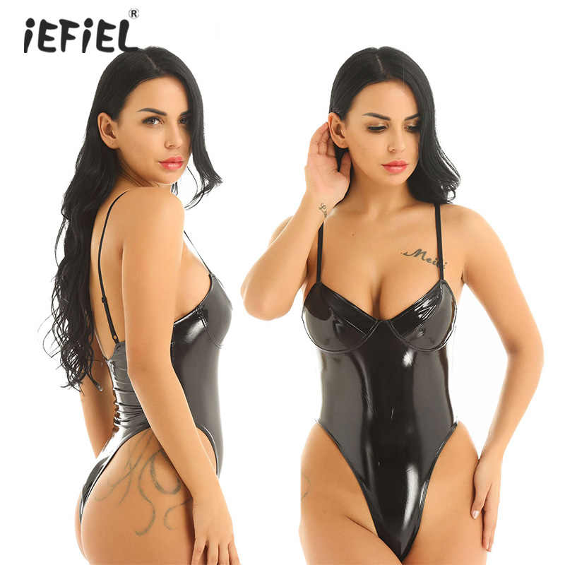 Vrouwen Wet Look Punk Gothic Latex Catsuit Body Sexy Lingerie Bodysuit Lakleer Latex Hoge Cut Erotische Rave Outfits Clubwear